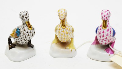 Lot 362A - Three Herend duck figures.