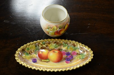 Lot 456 - A Royal Worcester hand-painted dish and a vase.