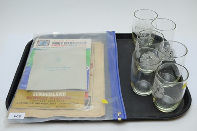 Lot 504 - A selection of football programmes and a set of World Cup 1966 presentation tumblers