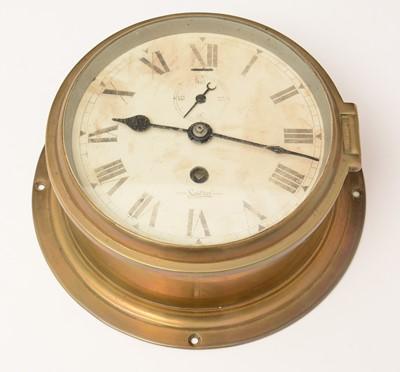 Lot 1201 - A Sestral brass cased ships clock