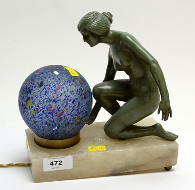 Lot 472 - A figural art deco table lamp