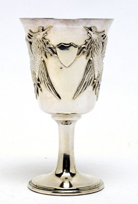 Lot 206 - A white metal goblet or chalice