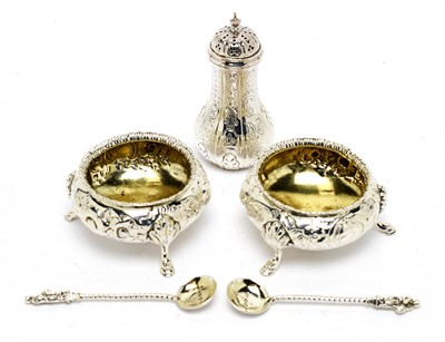 Lot 138 - A pair of Victorian table salts and pepperette