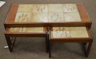 Lot 30A - Mid-century nest of three teak tables by Sunelm