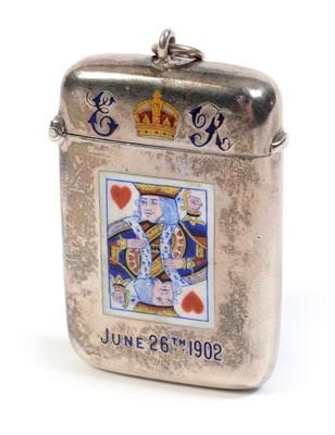 Lot 223 - An Edward VII Coronation souvenir vesta case.