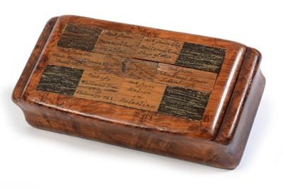 Lot 225 - Sycamore and specimen oak snuff box.