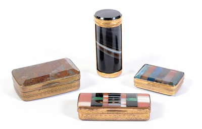 Lot 213 - Three 19th C snuff boxes; and an agate box.