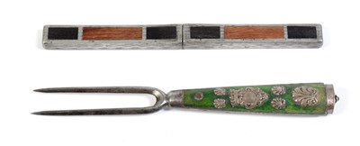 Lot 130 - A 19th Century interlocking knife and fork; and a 19th two-pronged fork