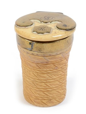 Lot 215 - A mid 18th C. Scottish brass-mounted and carved ivory snuff mull.