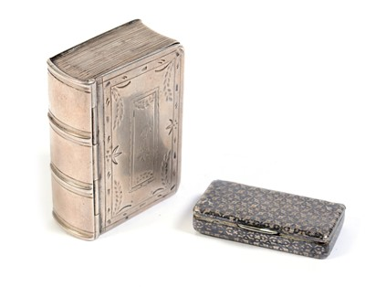 Lot 219 - 19th C silver book pattern snuff box.