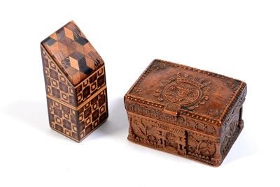 Lot 220 - Carved coquilla nut snuff box.