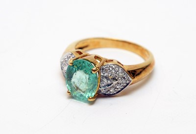 Lot 156 - Paraiba tourmaline and diamond ring