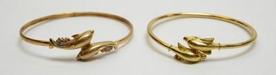 Lot 174 - Two yellow metal bangles