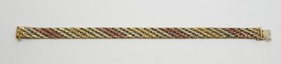Lot 183 - 9ct three-coloured gold bracelet