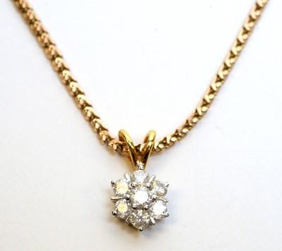 Lot 195 - Diamond cluster pendant on chain