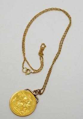 Lot 223 - A Queen Victoria gold sovereign pendant