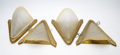 Lot 312 - Set of four Art Deco wall sconces and shades; and an additional shade.