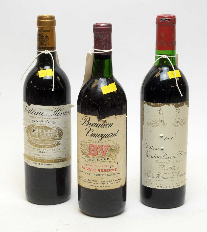 Lot 3 - Kirwan Margaux, Mouton Baron Philippe Pauillac, and Beaulieu Vineyard BV