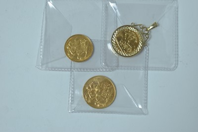 Lot 230 - Two half and one full sovereign, one in pendant mount