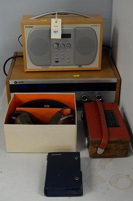 Lot 327 - Pair Koss K/6LC stereophones; radios; etc.