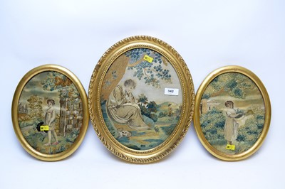 Lot 342 - Georgian needlework picture; and a pair of needlework pictures.
