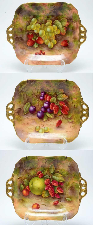 Lot 514 - Three Royal Worcester Fruit painted  Dessert Plates