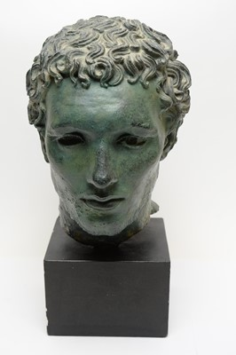 Lot 517 - Spelter bust of a classical male