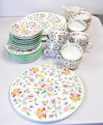 Lot 377 - Minton 'Haddon Hall' pattern tea service.