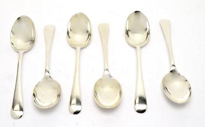 Lot 189 - Six silver dessert spoons, by Walker & Hall