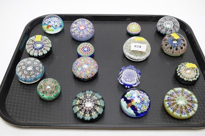 Lot 424 - A selection of millefiori glass paperweights