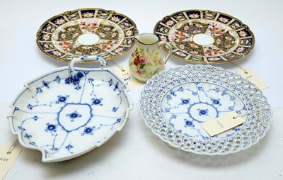 Lot 417 - Two Royal Crown Derby plates; along with two other plates and a Royal Worcester Jug