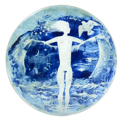 Lot 10 - Denis Mann engraved glass plaque