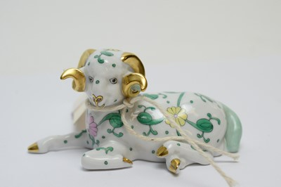 Lot 465 - Herend Siang Blanc figure of a ram.