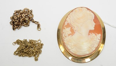 Lot 3 - A 9ct gold cameo pendant brooch and chains.