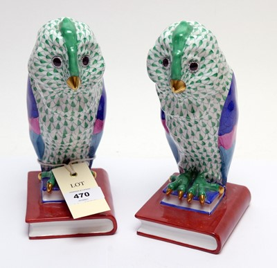 Lot 470 - Two Herend figures of owls.