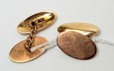Lot 2 - An Edwardian gentleman's pair of 9ct cuff links.