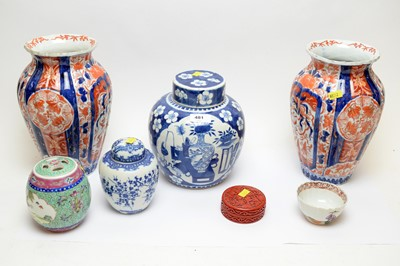 Lot 481 - Pair of Japanese vases; and other Asian ceramics.