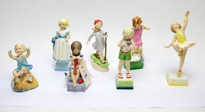 Lot 486 - Royal Worcester 'Children of the Week' figures (7)