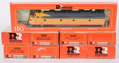 Lot 47 - Rivarossi HO-gauge American EMD E-8 locomotive pairs, and other items.