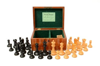 Lot 1203 - An early 20th Century cased Jacques Staunton chess set