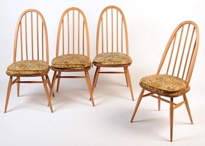 Lot 45 - Ercol: a set of four light beech and elm 'Quaker Windsor' chairs.