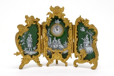 Lot 229 - A French 19th Century triptych dressing table clock