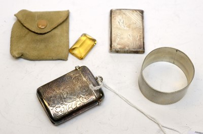 Lot 54 - Antique silver and a cut citrine unmounted gemstone.