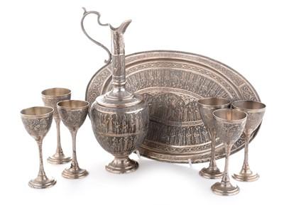 Lot 205 - Persian silver liqueur set