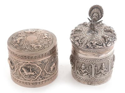 Lot 204 - Two Indian white metal covered boxes