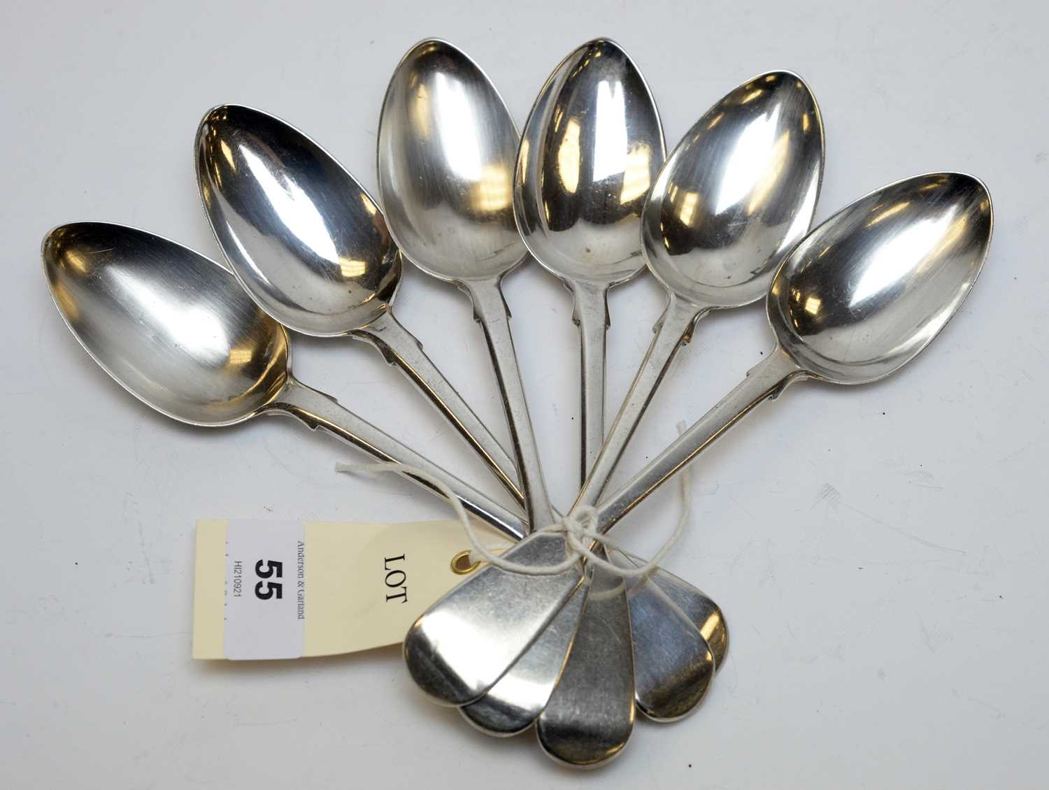 Lot 55 - A set of six William IV silver dessert spoons.
