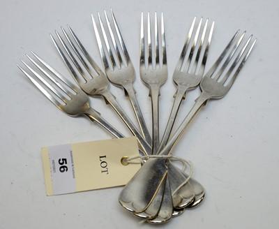 Lot 56 - A set of six Victorian silver dessert forks.