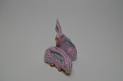 Lot 394 - A Herend figure group of two bunny rabbits