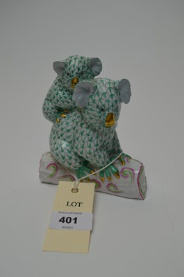 Lot 401 - Herend figure group of two koalas