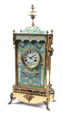 Lot 511 - A late 19th / early 20th Century Chinese cloisonne enamelled and lacquered brass mantle clock